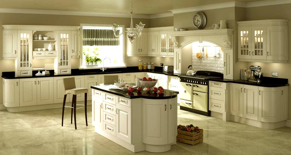 Cream kitchen designs ireland for Fitted kitchen cabinets